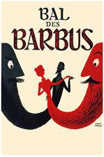 French Vintage Decoration & Design Poster.Bal des Barbus.Home art Decor885i