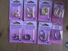 HEMLINE D-RING  BUCKLES -2 COLOURS for Bags,tiebacks,belts,straps....