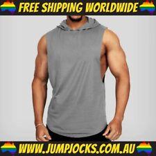 Grey Sleeveless Hoodie - Fitness, Gym, T-Shirt, Vest *FREE WORLDWIDE SHIPPING*