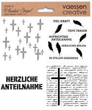 Schablone TRAUER Stencil VAESSEN Papier Grusskarten Textil CONDOLENZ