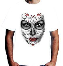Velocitee Mens Día de los muertos Chica Camiseta dia de los muertos Dama A20295