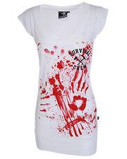 Darkside Clothing Zombie Killer Blood Splatter Horror Fitted White Dress Top