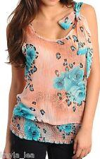 Peach/Blue Rose/Leopard Chiffon Tie Shoulder Smocked Hem Sleeveless Tank Top
