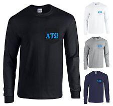 Alpha Tau Omega Fraternity Long Sleeve POCKET Shirt Blue Letters - NEW