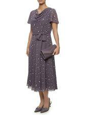 New Jacques Vert dress Chiffon Purple Spotted Ivory Polka Wedding Flute sleeves