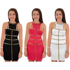 Women's Gold Panel Contrast Mesh Insert Sleeveless Short Ladies Bodycon Dress