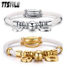 TTstyle S.Steel Swarovski Crystal Ball Love Peace White Bracelet Wristband