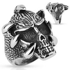Stainless Steel Skull w/ Claws Men's Biker Ring Size 9-14