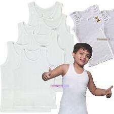 6 Pair Childrens Boys Vest 100% Cotton White Sleeveless Underwear