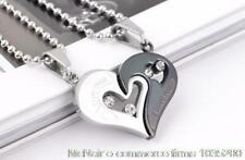 Diamante Love Heart Puzzle Lovers Pendants Stainless Steel Couples Necklaces Set
