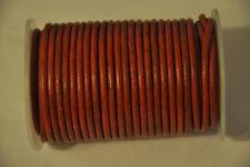Cordón de cuero redondo Real Vintage Orange 4 mm Tanga con Cadena Collar Joyería