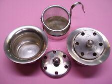 Ancienne Argent Set: Passoire à thé avec pied et sachet de thé Réservoir Plaqué