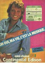 PUBLICITE ADVERTISING  1981  CONTINENTAL EDISON la mini chaine J.Hallyday