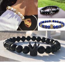 Luxury Men's 24kt Pave CZ Cube Crown Bracelet Natural Stone Bead Xmas Bracelets