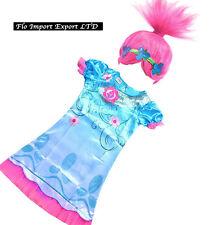 Trolls Poppy Vestito Bambina Carnevale Maschera Cosplay Girl Dress Wig TROLC02
