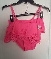 Womens-Bobbie-Brooks-Pink-Bikini-Set-Swimwear-Bandeau-Top-High-Waist-Bottoms-NWT