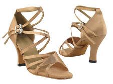 Latin Salsa Very Fine Ballroom Competitive Dance Shoes SERA1662b Brown Satin