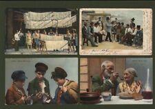 COSTUMI NAPOLETANI. Quattro cartoline a colori. Una viaggiata 1905.