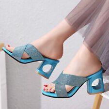 Women Sandals Block Heels Sequins Peep Toe Slippers Summer Party Shoes Plus size