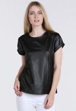 Señoras Brillante Wet Look PVC Pu realce Top Mangas Cortas Camiseta más tamaño 8 -26
