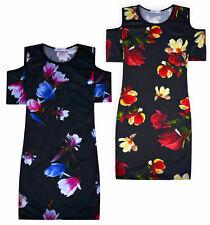 Girls Floral Dress Cold Shoulder Midi Party Dresses Age 5 6 7 8 9 10 11 12 13 Y