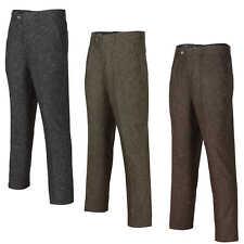 Mens Grey Brown Vintage Herringbone Tweed Wool Trousers Classic Tailored Fit