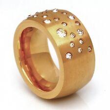 Edelstahl Ring Bandring breiter massiver Zirkonia Damen Gold Fingerring  Neu