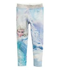 Disney Frozen Elsa Printed Leggins HM H&M Blue Size 3-4 , 8-9 Years Glitter NWT