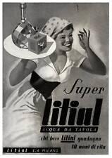 PUBBLICITA' 1943 LITIAL ACQUA VISCI' VICHY MILANO DONNA GIOVENTU' GINO BOCCASILE