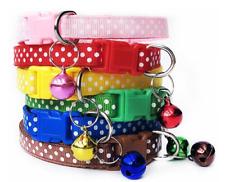 Adjustable Kitten Collar Polka Dot Bell Cat Pet Puppy Snap Buckle Polkadot UK
