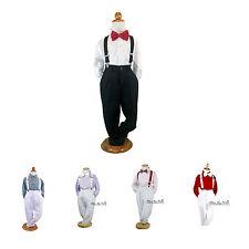 NEW BABY BOYS Formal Wedding Suit 4pcs Set Pants-Shirt-Braces-Bowtie sz000-16yr