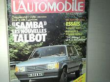 PRESENTATION TALBOT SAMBA /l'AUTOMOBILE/NOV 1981+ESSAI LANCIA TREVI