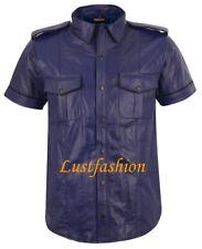 Lederhemd dunkelblau Hemd Leder neu blau leather shirt dark blue Chemise Cuir