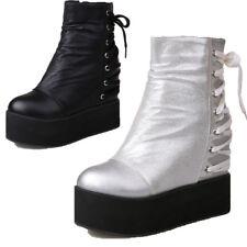 Womens Pantshoes Bandage Ankle Boots Platform Lace Hidden Wedge Round Toe Shoes