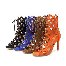 Ladies Gladiators Shoes High Heels Zip Lace Up Sandals Ankle Boots UK Size S967