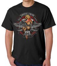 KNUCKLEHEAD Pinup Girl Blonde T-SHIRT ~ Biker Tee ~ Motorcycle Engine Route 66