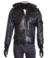 Pilot 6 Black Men's Classic Hooded Aviator Style Soft Lambskin Leather Jacket