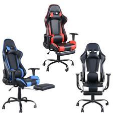 Office Gaming Chair Racing Recliner Bucket Seat Computer Desk Footrest