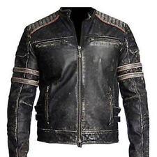 Hommes Motard Vintage Moto Délavé Rétro Noir Veste Cuir