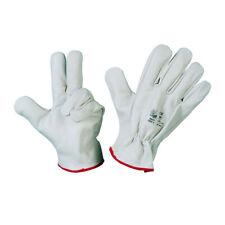 12 Paia guanti da lavoro in pelle fiore bovino bianco Taglie 9 - 10 - 11 bordato