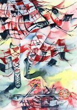 HIGHLAND SWORD DANCE ART PRINT of painting SCOTLAND Thistle HeART Prints