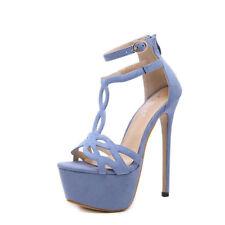 sandali gioiello stiletto 17 cm plateau lilla viola scamosciato simil pelle  1546 3369be05edd
