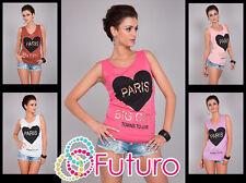 Ladies Vest Top PARIS Print Casual 100% Cotton T-Shirt Tunic Sizes 8-12 FB25-1