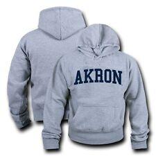 NCAA Akron University Hoodie Sweatshirt Game Day Fleece Pullover Heather Grey