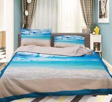 3D Beach White Cloud Sky 5 Bed Pillowcases Quilt Duvet Cover Set Single Queen CA