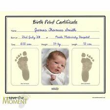 Save The Moment Inkless Footprint Birth Certificate Baby Foot Print Keepsake