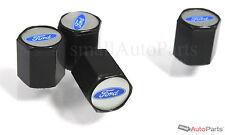 (4) Ford Blue Oval Logo Black ABS Tire/Wheel Stem Air Valve CAPS Covers set