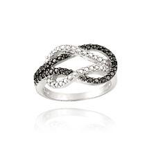 925 Silver Black Diamond Accent Love Knot Ring