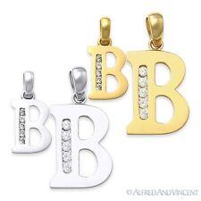 "Letra Inicial ""B"" Circonia Cúbica CZ cristal símbolo COLLAR COLGANTE EN 14k oro"