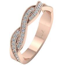 Real Diamond SI1 H 0.45Ct Milgrain Knot Anniversary Wedding Ring 14K Rose Gold